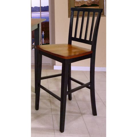 Copper Grove Impatiens Slat Back and Wood Seat Barstool (Set of 2)