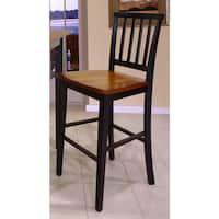 Gracewood Hollow Mitchell Slat Back and Wood Seat Barstool (Set of 2)