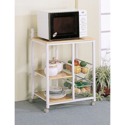 Porch & Den Earl White/ Natural Wood 2-shelf Kitchen Cart
