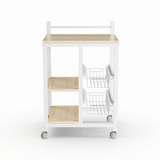 Porch & Den Ballard Earl White/ Natural Wood 2-shelf Kitchen Cart