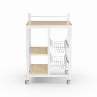 Porch & Den Earl White/ Natural Wood 2-shelf Kitchen Cart