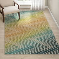 Havenside Home Anahuac Indoor/Outdoor Zig-zag Multicolored Rug - 5'2 x 7'6