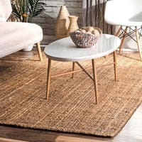 The Gray Barn Quivering Quail Handmade Natural Fiber Jute Sisal Ribbed Solid Natural Rug