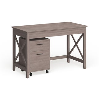 The Gray Barn Byrnes Washed Grey 48-inch Writing Desk with 2-drawer Mobile Pedestal
