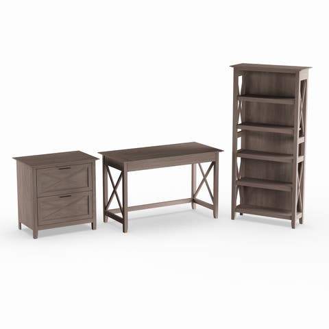 The Gray Barn Byrnes 48-inch Writing Desk with Lateral File and 5-shelf Bookcase