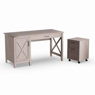 Havenside Home Bellport 54W Single Pedestal Desk with 2-drawer Mobile Pedestal