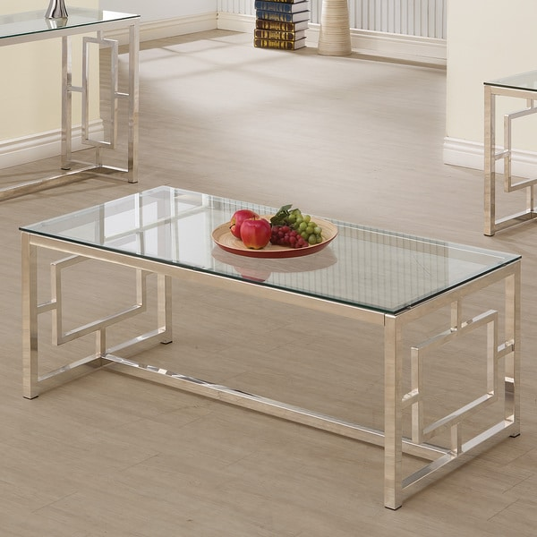 """Silver Orchid Parker Satin Nickel Coffee Table - 47.25"""" x 23.75"""" x 19"""""""
