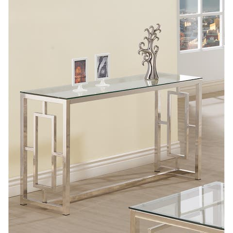 Silver Orchid Parker Glass Satin Metal Sofa Table