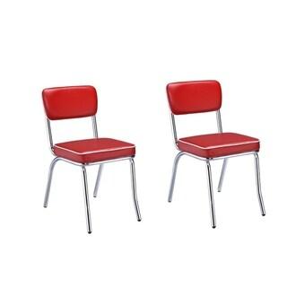 """Carson Carrington Hrafnagil Red Chrome Plated Retro Dining Chair (Set of 2) - 21"""" x 17"""" x 32.50"""""""