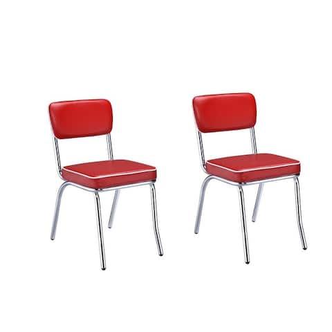 Carson Carrington Hrafnagil Red Chrome Plated Retro Dining Chair (Set of 2)