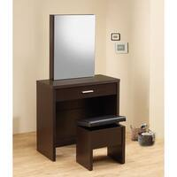 Coaster Company Dark Brown Wood Contemporary Vanity and Stool Set