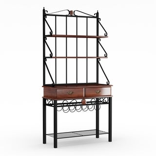 Gracewood Hollow Heyer Kitchen Cabinet Bakers Rack with 3 Shelves (Tobacco Finish)