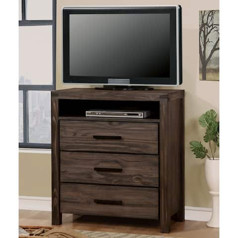 Furniture of America Barrison Transitional Dark Grey Wire-Brushed 3-drawer Media Chest