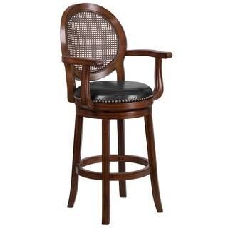 Gracewood Hollow O'Brian 30-inch Wood Barstool with Arms and Leather Swivel Seat