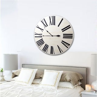 Copper Grove Cranesbill White Wood Farmhouse Clock