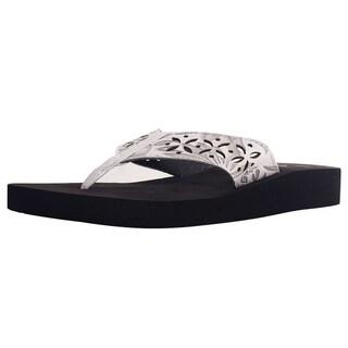 Women's Boho Chic PU Leather Lightweight Beach Flip Flop Sandals, 2221W-White, 8