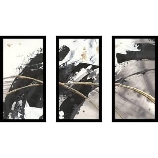 """Chris Paschke """"Gilded Arcs II"""" Framed Plexiglass Wall Art Set of 3"""