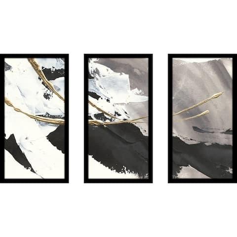 "Chris Paschke ""Gilded Arcs I"" Framed Plexiglass Wall Art Set of 3"