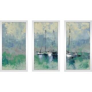 """Silvia Vassileva """"Boats in the Harbor II"""" Framed Plexiglass Wall Art Set of 3"""