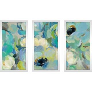 "Silvia Vassileva ""Fresh Teal Flowers III"" Framed Plexiglass Wall Art Set of 3"