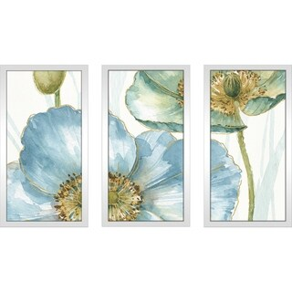 "Lisa Audit ""My Greenhouse Flowers II"" Framed Plexiglass Wall Art Set of 3"