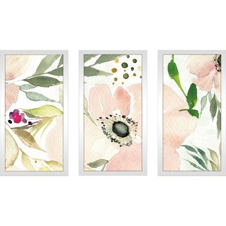 "Kristy Rice ""The Joy of White III"" Framed Plexiglass Wall Art Set of 3"