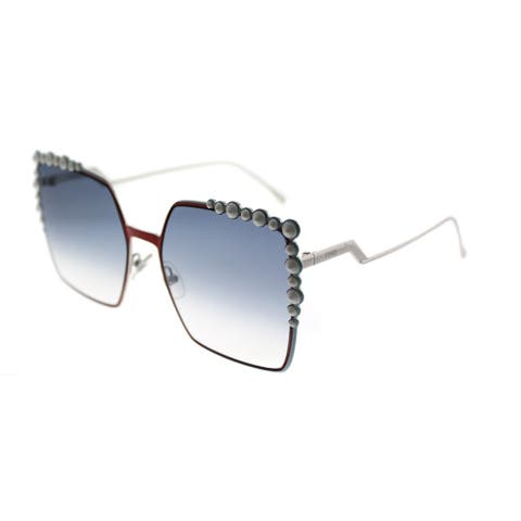 Fendi Square FF 0259 L7Q Women Orange Frame Blue Gradient Lens Sunglasses
