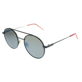 Fendi Round FF 0221 Air 1ED 3U Unisex Green Frame Blue Mirror Lens Sunglasses
