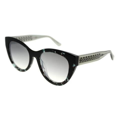 Jimmy Choo Cat-Eye JC Chana 676 Women Transparent Green Havana Frame Silver Mirror Lens Sunglasses