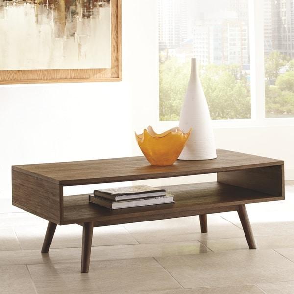 Kisper Mid-Century Modern Wooden Rectangular Cocktail Table