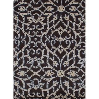 eCarpetGallery  Hand-knotted Arlequin Dark Brown Wool Rug - 5'6 x 7'9