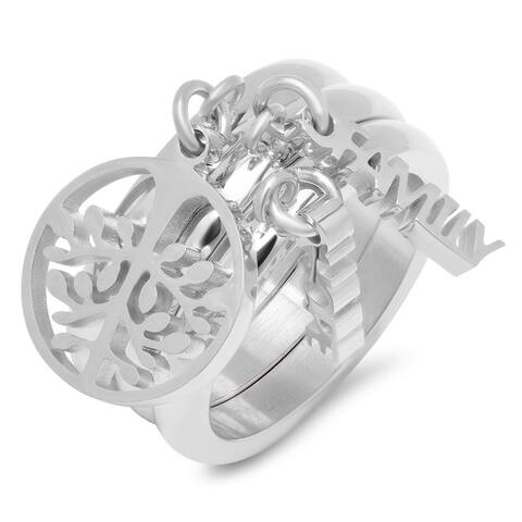 Piatella Ladies Set of 3 Stainless Steel Band Rings with Charms in 2 Colors