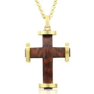Koa Wood and Gold Plated Stainless Steel Classic Cross Necklace, 24 Inches - n/a