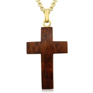 Koa Wood and Gold Plated Stainless Steel Cross Necklace, 24 Inches - n/a