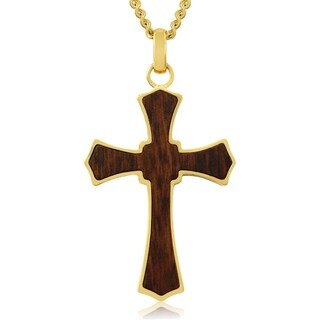 Koa Wood and Gold Plated Stainless Steel Cathedral Cross Necklace, 24 Inches - n/a