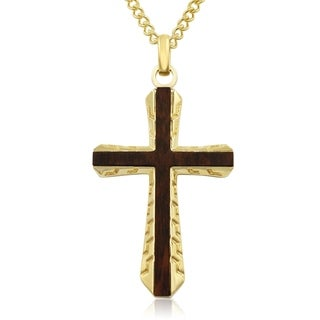 Koa Wood and Gold Plated Stainless Steel Outlined Cross Necklace, 24 Inches - n/a