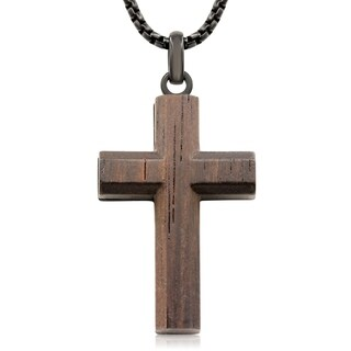 Koa Wood and Black Stainless Steel Cross Necklace, 24 Inches - n/a