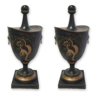 Royal Designs Hand Painted Vintage Cast Metal Vase with Oriental Monkey Design, Set of 2
