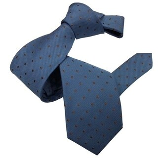 DMITRY Blue with Brown Polka Dot Pattern Italian Silk Tie