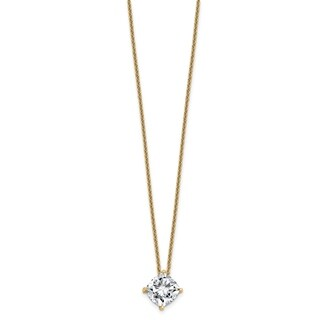 Versil 14 Karat Yellow Gold 2.75ct. 8.50mm Cushion Cut Colorless Pure Light Moissanite Pendant with Chain