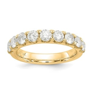 Versil 14 Karat Yellow Gold 1.50ct. 9 Stone Colorless Pure Light Moissanite Band (5 options available)