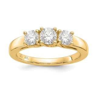 Versil 14 Karat Yellow Gold 2.00ct. 3 Stone Colorless Pure Light Moissanite Ring