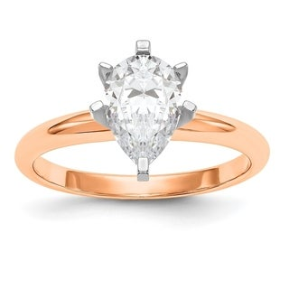 Versil 14 Karat Rose Gold 2.0ct. 10x7mm Pear Colorless Pure Light Moissanite Solitaire Ring