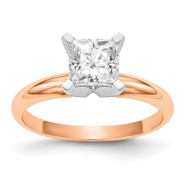Versil 14 Karat Rose Gold 1.0 ct. 5.5mm Colorless Pure Light Moissanite Princess Solitaire Ring