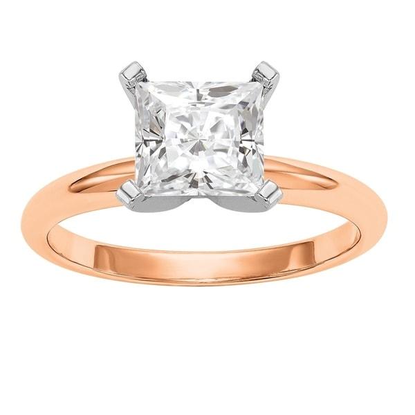 Versil 14 Karat Rose Gold 2ct. 7.0mm Princess True Light Moissanite Solitaire Ring