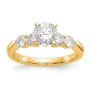 Versil 14 Karat Yellow Gold 2.4ct. 5 Colorless Pure Light Moissanite Ring (5 options available)