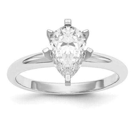 Versil 14 Karat White Gold 2.0ct. 10x7mm Pear Colorless Pure Light Moissanite Solitaire Ring