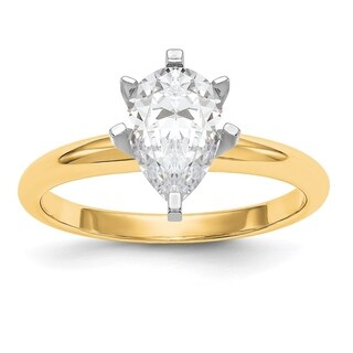 Versil 14 Karat Yellow Gold 2.0ct. 10x7mm Pear Colorless Pure Light Moissanite Solitaire Ring