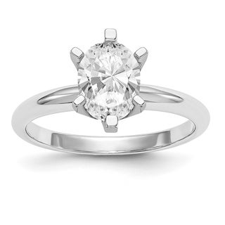 Versil 14 Karat White Gold 1.0ct. 7x5mm Oval Colorless Pure Light Moissanite Solitaire Ring (5 options available)