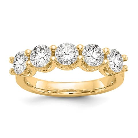 14K Yellow Gold Polished Round Moissanite 5 Stone Band by Versil
